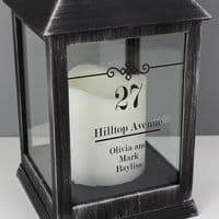 Personalised Elegant Diamond Rustic Black Lantern - ideal gift for new home, wedding day, anniversary, engagement